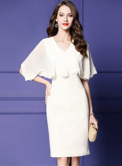 Elegant V-neck Cloak Sheath Midi Dress