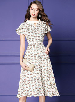 Print Stand Collar High Waist Hem Skater Dress