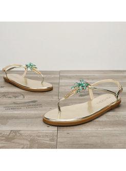 Summer Fashion Beach Rhinestone Flat Sandals With Buckle