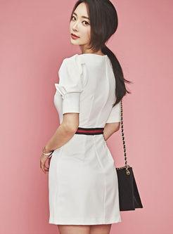 Work V-neck Color-blocked Slim Bodycon Dress