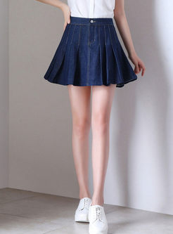 Casual High Waist Pleated Denim Mini Skirt
