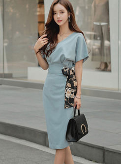 V-neck High Waisted Bodycon Skirt Suits