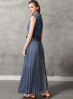 Denim Splicing Polka Dot Sleeveless Maxi Dress