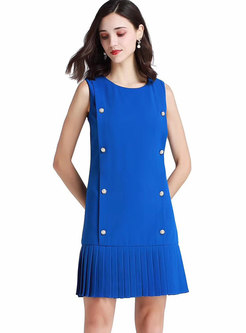 Elegant O-neck Sleeveless Pleated Mini Dress