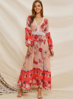 Long Sleeve Print V-neck Maxi Dress