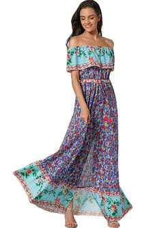 Bohemian Falbala Multi-color Print Maxi Dress