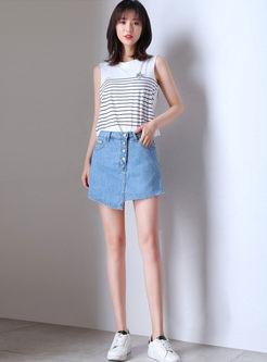 Chic High Waist Irregular Mini Shorts With Pocket