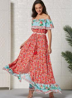 Slash Neck Tie-Waist Print Big Hem Maxi Dress