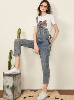 Retro Casual High Waist Holes Denim Overalls