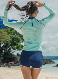Color-blocked Long Sleeve Tied Two Piece Swimwear