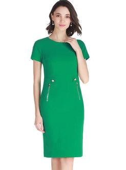 Elegant Pure Color O-neck Sheath Dress