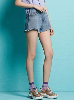 Chic Denim Raw Loose Summer All-matched Shorts