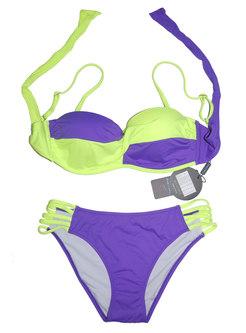 Chic Color-blocked Gathered Tied Slim Bikini
