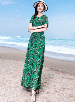 Chiffon Print V-neck High Waist Slim Maxi Dress