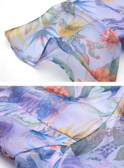 Stylish O-neck Print Falbala Splicing Skater Dress