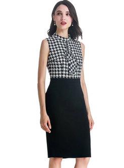 Plaid Splicing Stand Collar Sleeveless Bodycon Dress