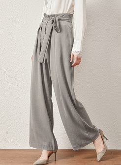 Casual High Waist Tied Long Wide Leg Pants