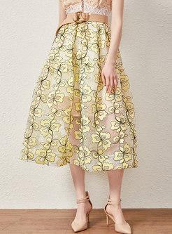 Trendy Print Perspective Big Hem Ball Gown Skirt