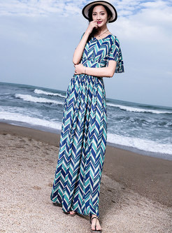 Chic Print V-neck Gathered Waist Beach Maxi Dress