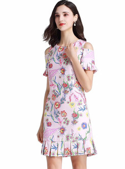 Floral Off Shoulder O-neck Falbala Bodycon Dress