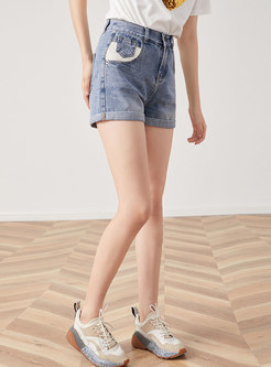 Summer Brief Elastic High Waist Denim Shorts