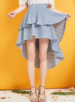 Chic High Waist Plaid Irregular Hem Skirt