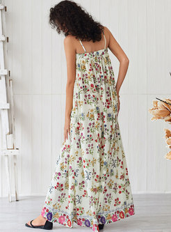 Fashion Sleeveless Floral Slit Shift Maxi Dress