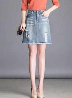 Trendy High Waist Holes Rough Selvage Denim Skirt