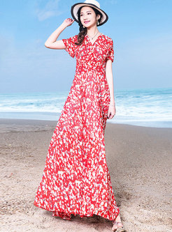 Bohemia Floral V-neck High Waist Hem Maxi Dress