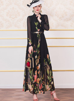 Retro Lapel Print Big Hem Chiffon Maxi Dress