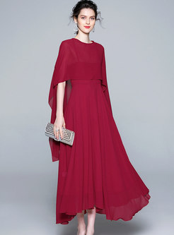 Elegant Asymmetric Slip Maxi Dress & O-neck Kimono