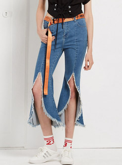 Vintage Split Rough Selvedge Flare Jeans