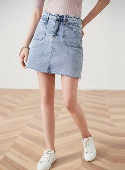 Brief High Waist Rough Selvage Denim Skirt
