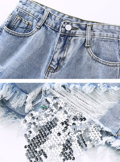 Stylish Summer Sequined Slim Rough Selvedge Shorts