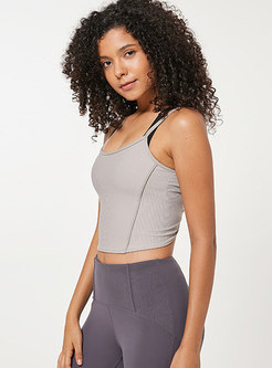 Solid Color Backless Slim Yoga Top