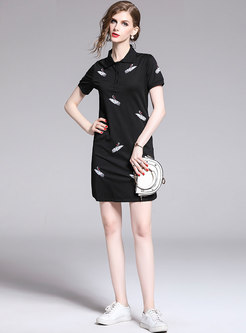 Brief Animal Embroidered Black Slim T-shirt Dress