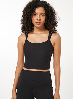 Trendy Solid Color Backless Slim Yoga Top