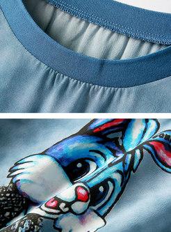 Stylish Cartoon Animal Print Silk T-shirt