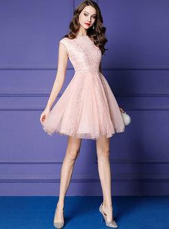 Sweet Mesh Splicing Sleeveless Slim Lace Dress