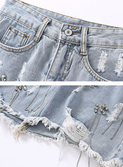 Chic Tassel Irregular Shredded Denim Skirt