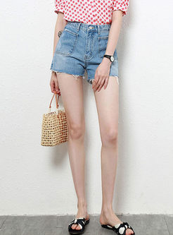 Casual High Waist Rough Selvage Denim Shorts