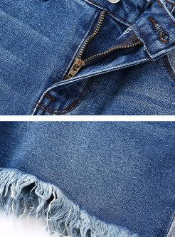 Brief Color-blocked High Waist Denim Shorts