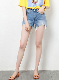 Stylish High Waist Holes Denim Shorts
