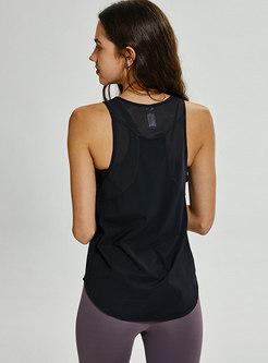 O-neck Sleeveless Loose Breathable Yoga Top