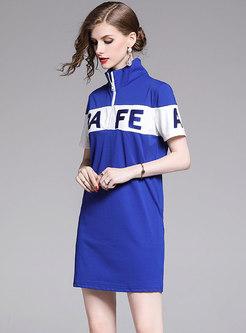 Casual Zipper Letter Embroidered Blue T-shirt Dress