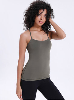 Solid Color Backless Slim Sports Top