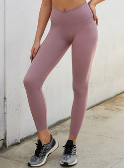 Casual Solid Color Breathable Slim Yoga Pants