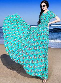Print V-neck Elastic Waist Hem Maxi Dress