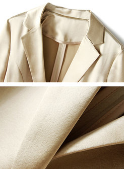 Pure Color Gathered Waist Blazer