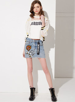 Cartoon Embroidered Summer All-matched Skirt
